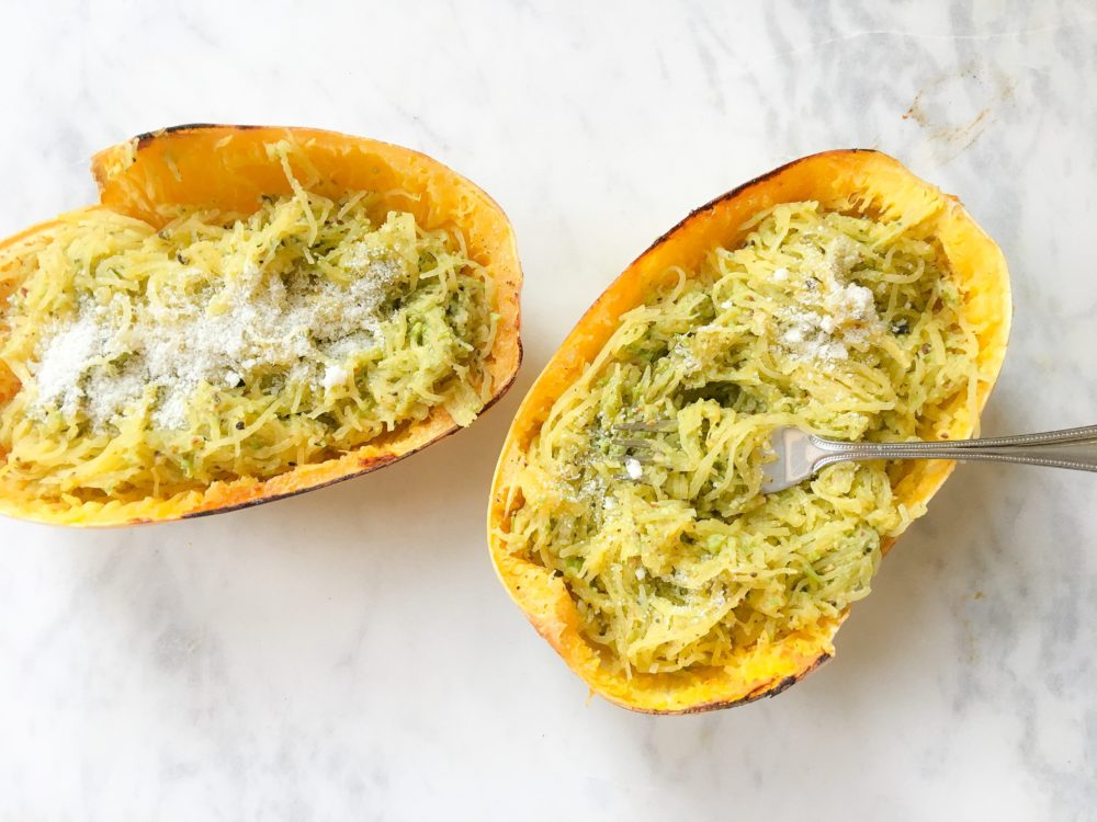 Spaghetti Squash with Pea Pesto