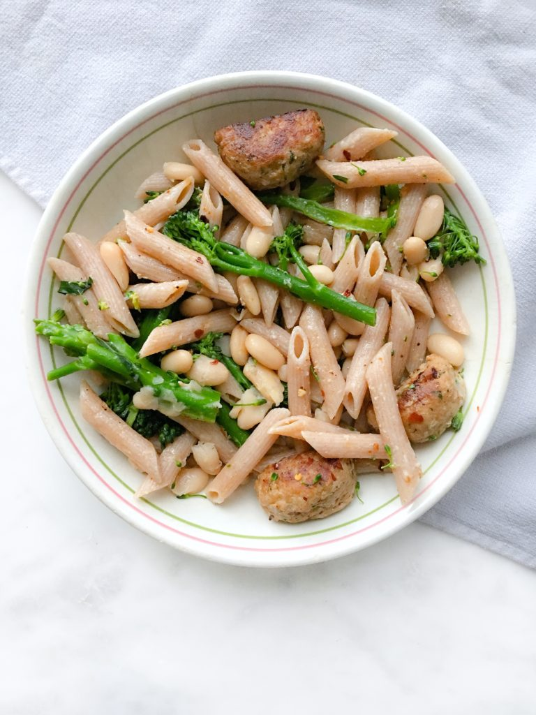 megscucina chicken meatballs, penne, lemon, broccolini
