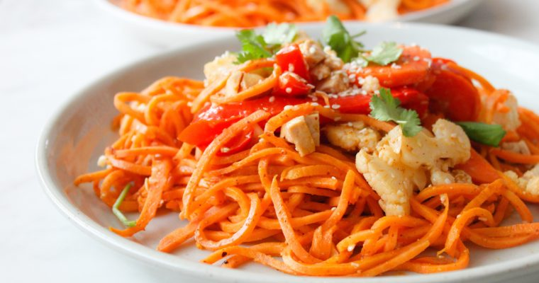 Sweet Potato Veggie Tofu Pad Thai