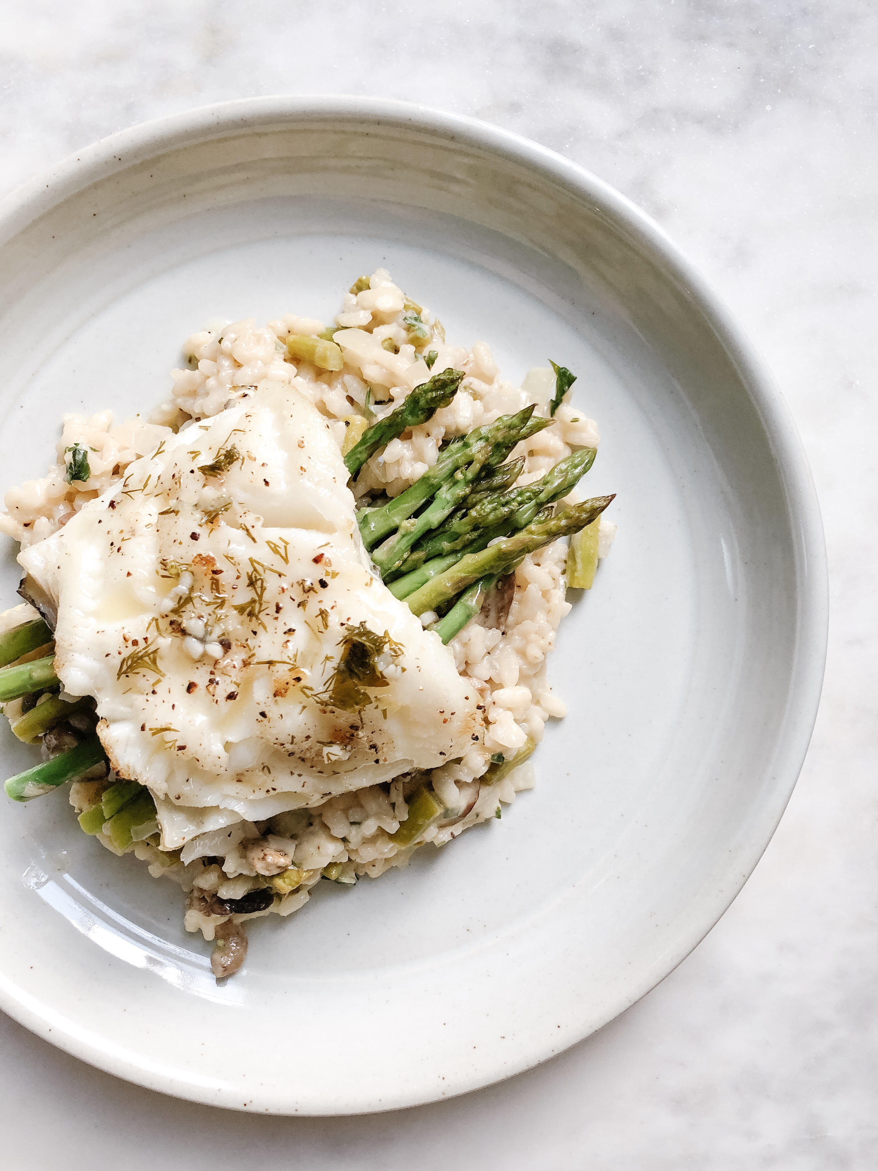 Chilean Sea Bass with Mushroom Asparagus Risotto